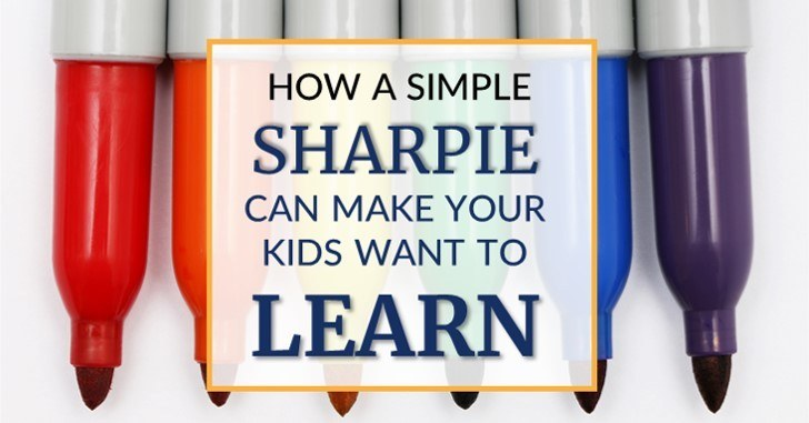 Kids motivated to learn with sharpie in homeschool